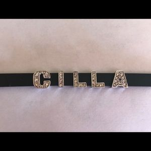 Silicone Rubber Bracelet 925 Silver And Cz Letters